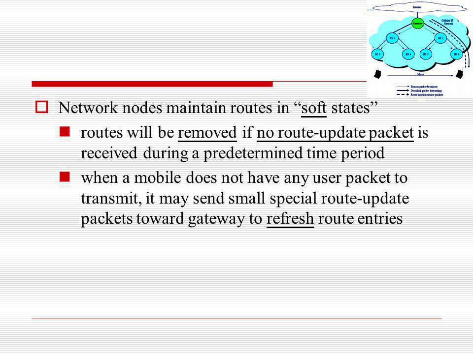 Network nodes maintain routes in soft states