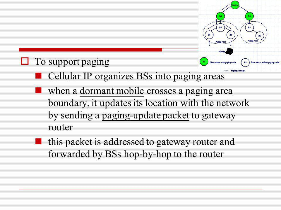 To support paging Cellular IP organizes BSs into paging areas.