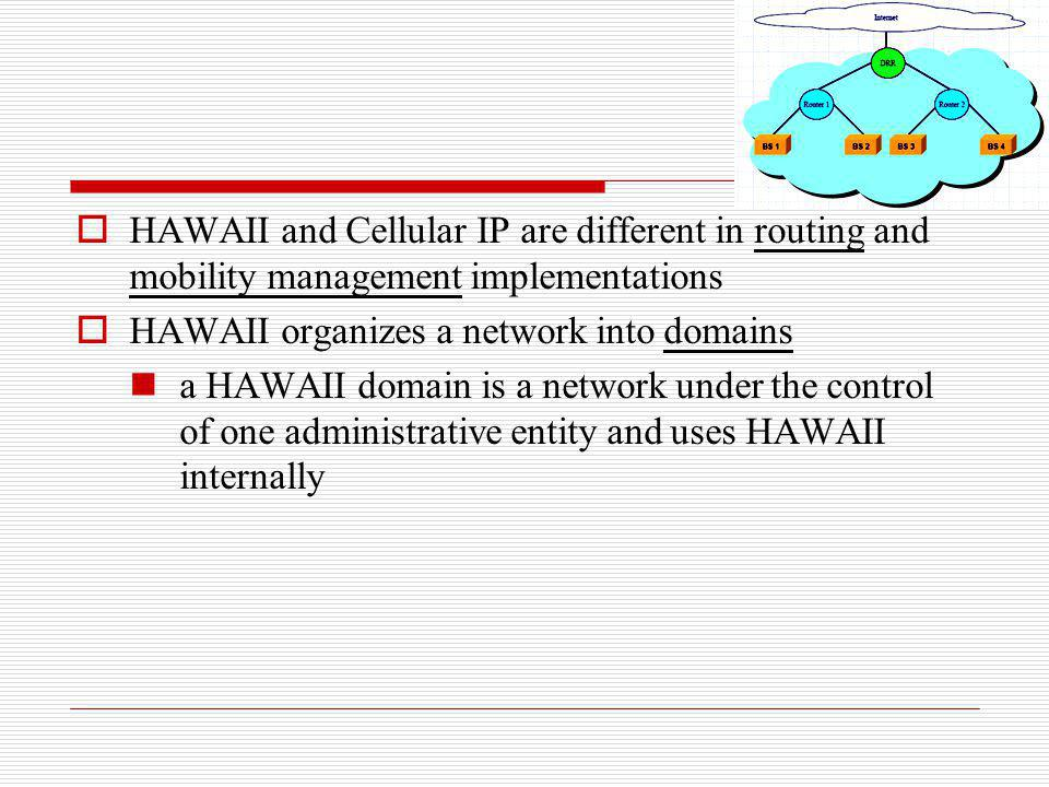 HAWAII and Cellular IP are different in routing and mobility management implementations