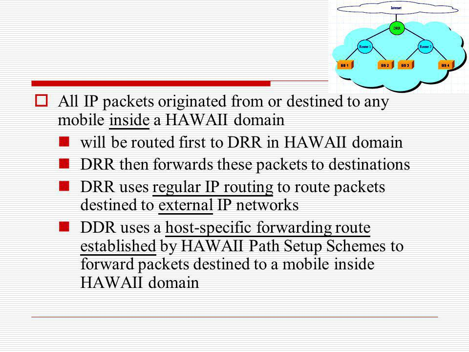 All IP packets originated from or destined to any mobile inside a HAWAII domain