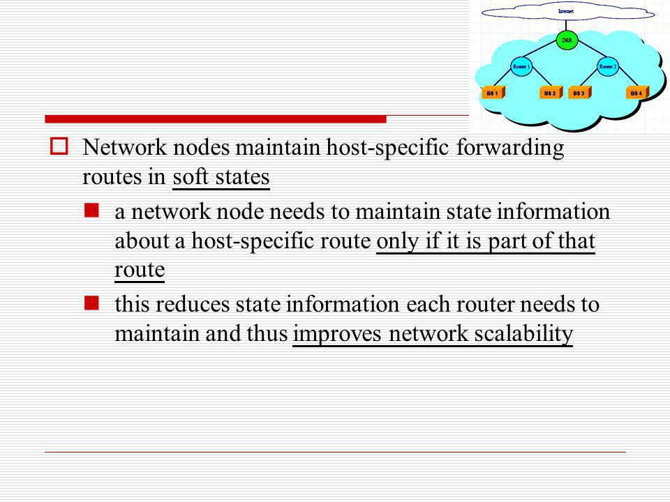 Network nodes maintain host-specific forwarding routes in soft states