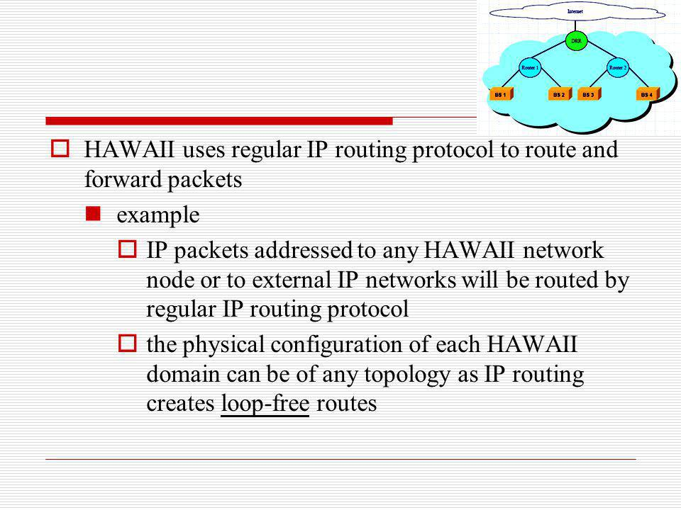 HAWAII uses regular IP routing protocol to route and forward packets