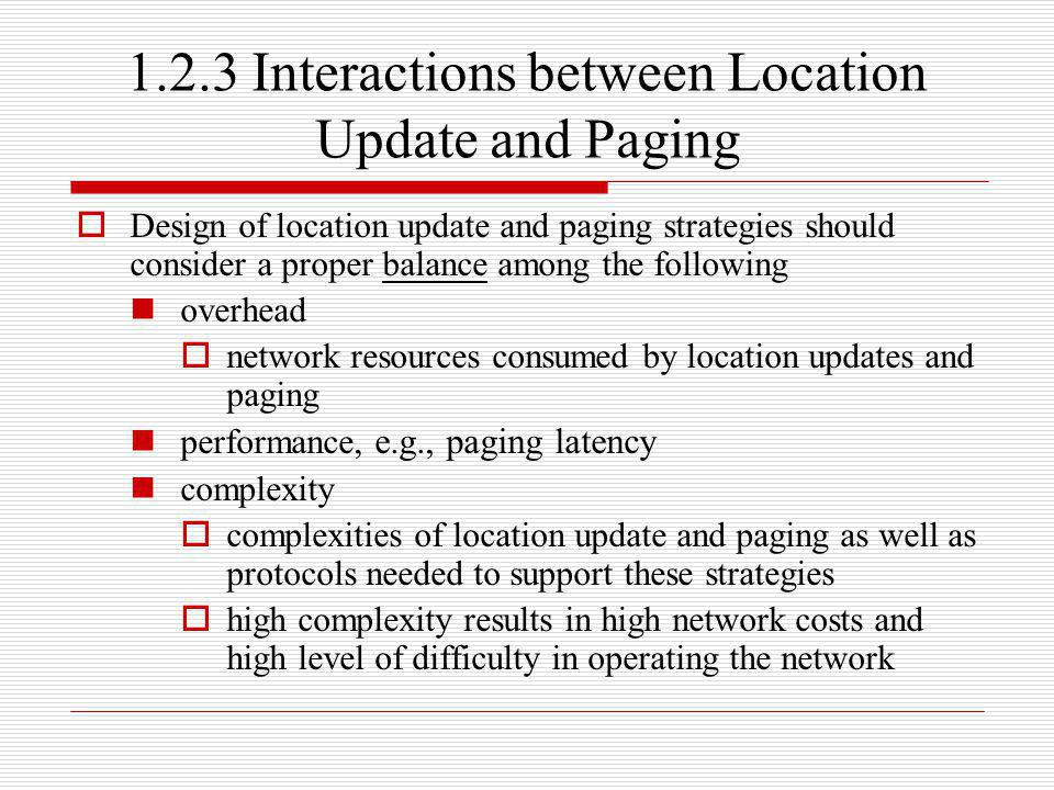 1.2.3 Interactions between Location Update and Paging