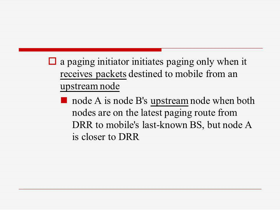 a paging initiator initiates paging only when it receives packets destined to mobile from an upstream node