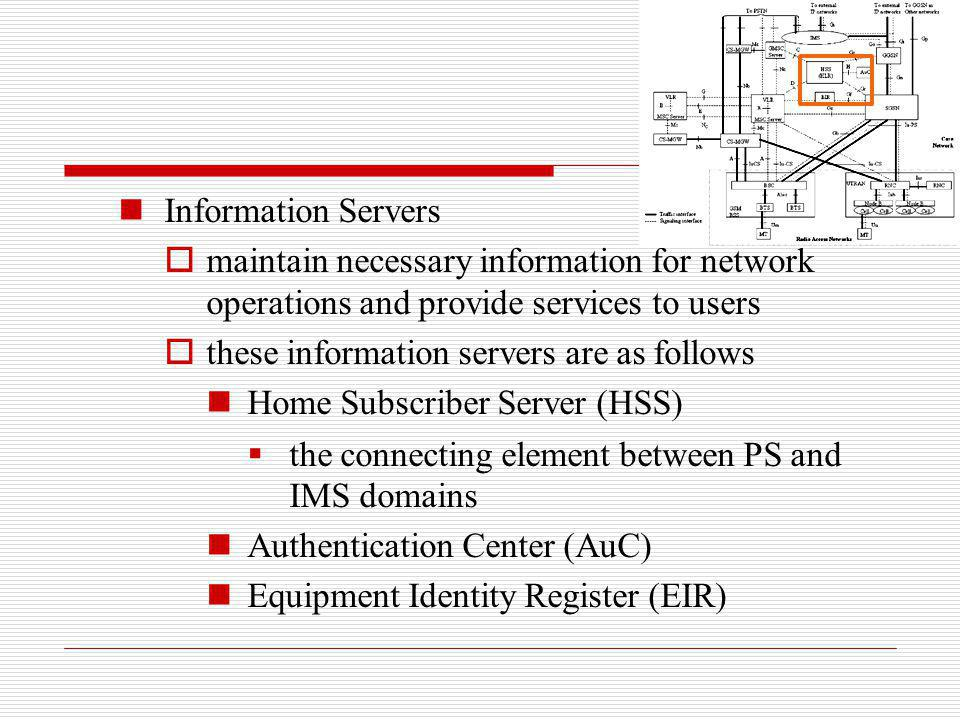 Information Servers maintain necessary information for network operations and provide services to users.