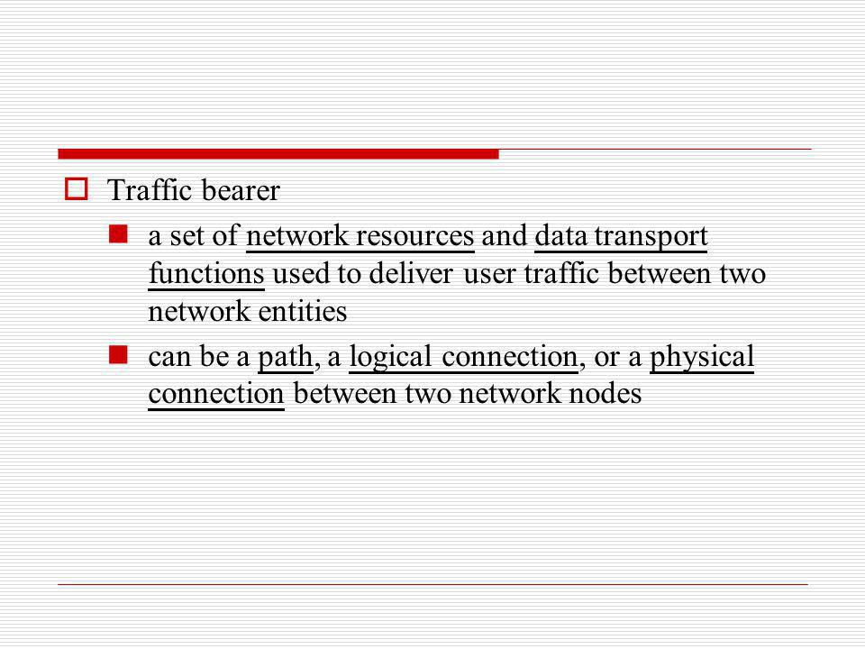 Traffic bearer a set of network resources and data transport functions used to deliver user traffic between two network entities.