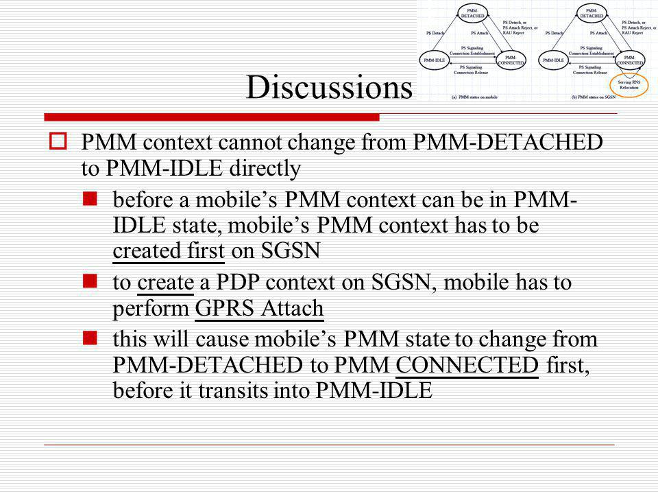 Discussions PMM context cannot change from PMM-DETACHED to PMM-IDLE directly.