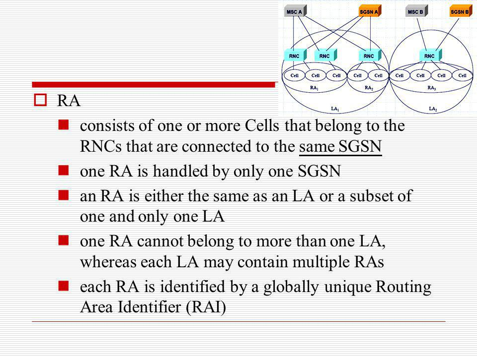 RA consists of one or more Cells that belong to the RNCs that are connected to the same SGSN. one RA is handled by only one SGSN.