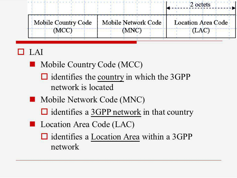 LAI Mobile Country Code (MCC) identifies the country in which the 3GPP network is located. Mobile Network Code (MNC)