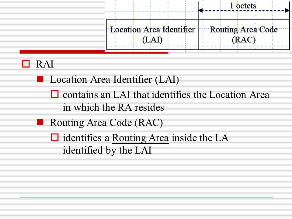 RAI Location Area Identifier (LAI) contains an LAI that identifies the Location Area in which the RA resides.