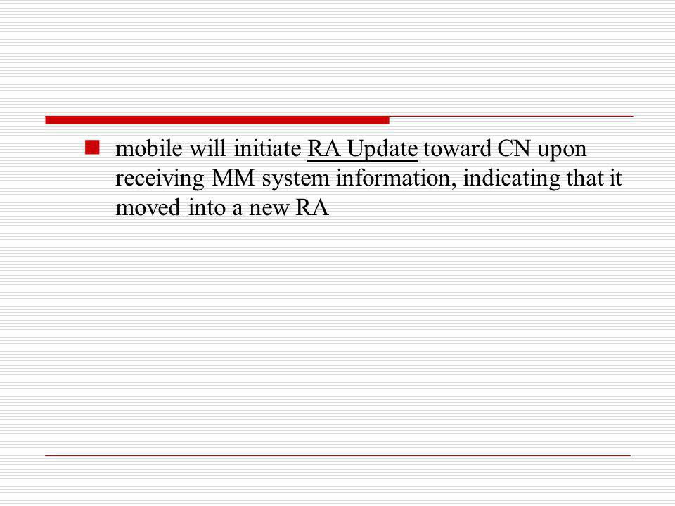 mobile will initiate RA Update toward CN upon receiving MM system information, indicating that it moved into a new RA