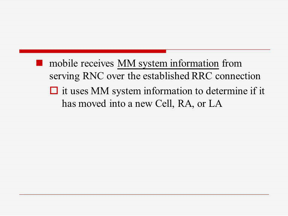 mobile receives MM system information from serving RNC over the established RRC connection