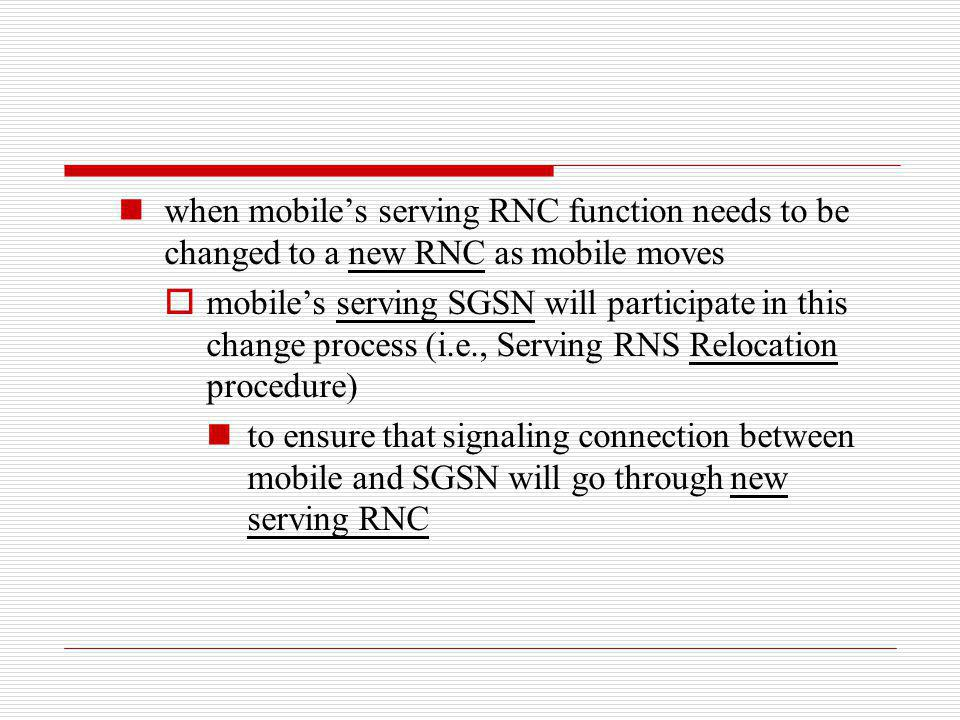 when mobile's serving RNC function needs to be changed to a new RNC as mobile moves