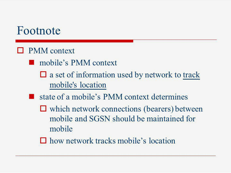 Footnote PMM context mobile's PMM context