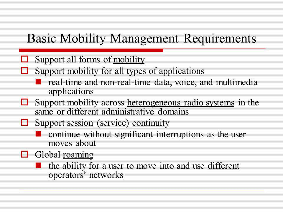 Basic Mobility Management Requirements