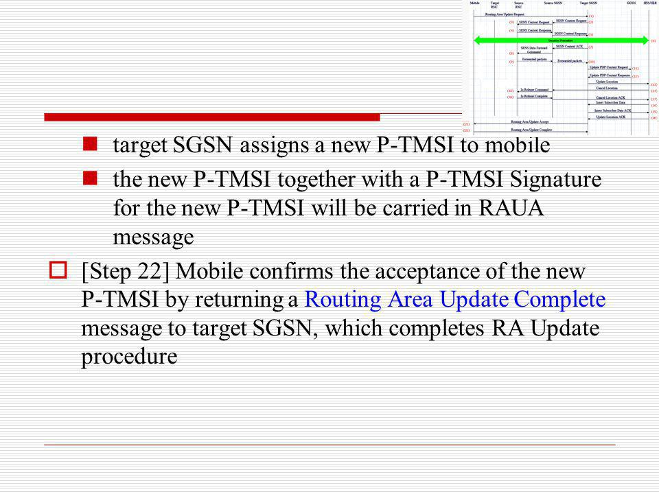 target SGSN assigns a new P-TMSI to mobile