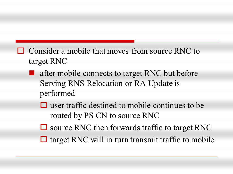 Consider a mobile that moves from source RNC to target RNC