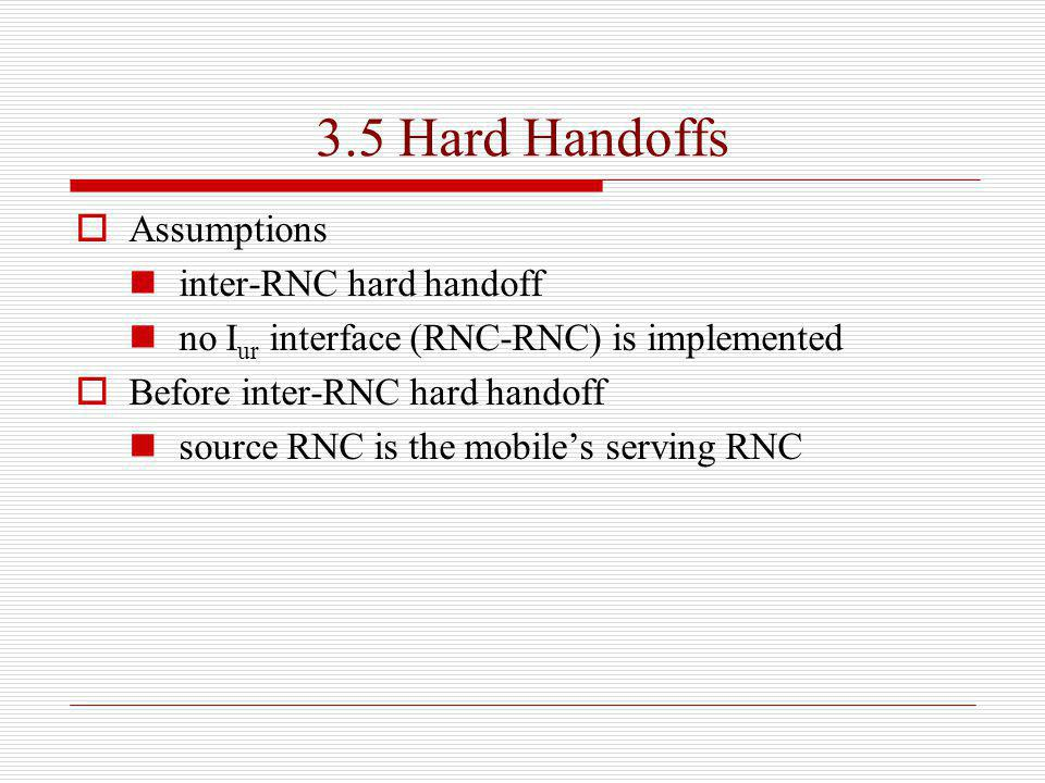 3.5 Hard Handoffs Assumptions inter-RNC hard handoff