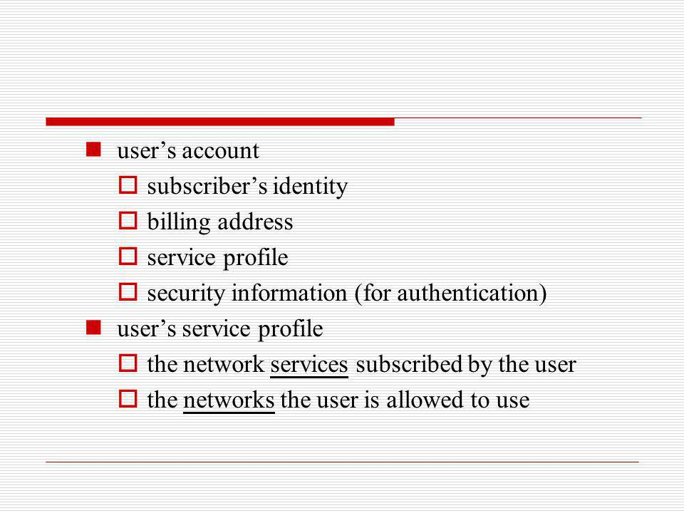 user's account subscriber's identity. billing address. service profile. security information (for authentication)