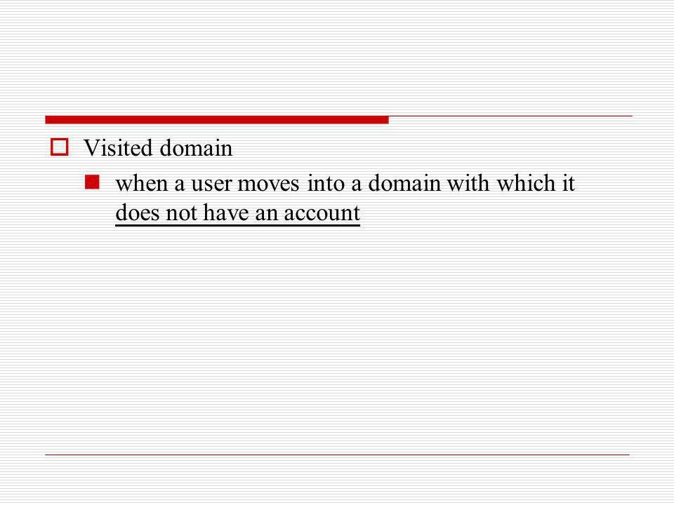 Visited domain when a user moves into a domain with which it does not have an account