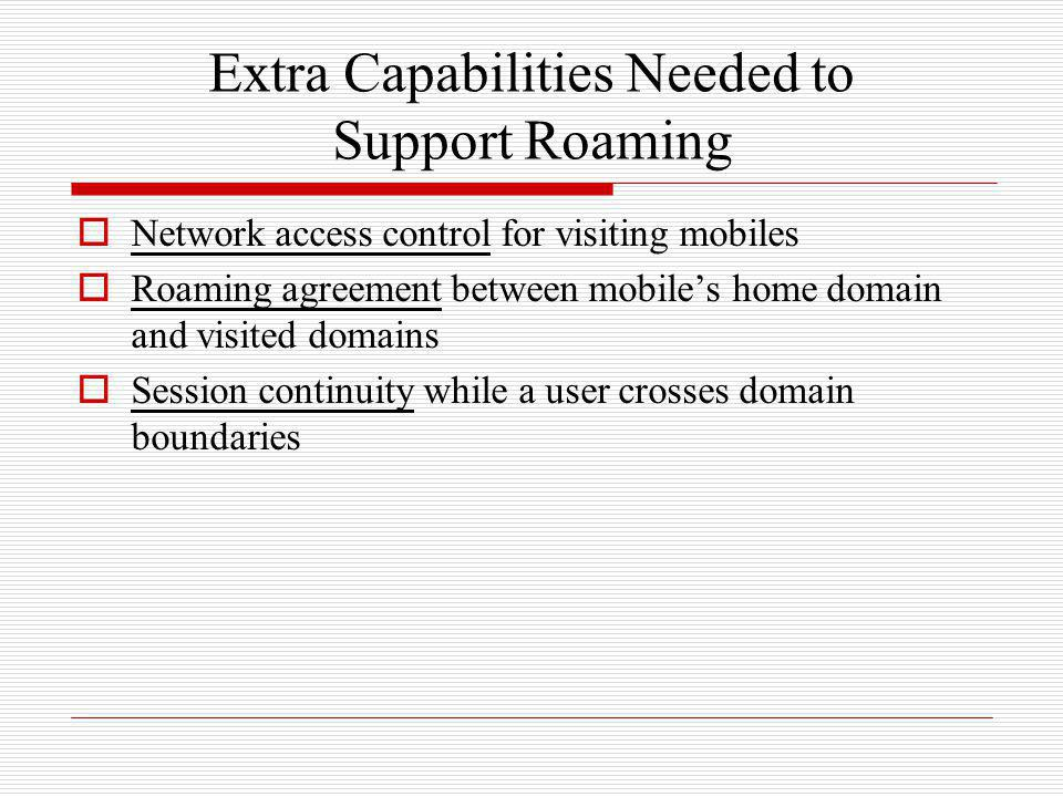 Extra Capabilities Needed to Support Roaming