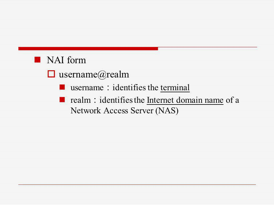 NAI form username@realm username:identifies the terminal
