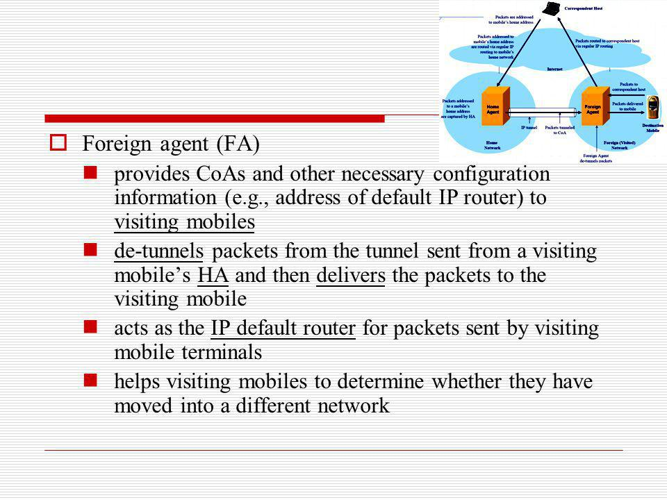 Foreign agent (FA) provides CoAs and other necessary configuration information (e.g., address of default IP router) to visiting mobiles.