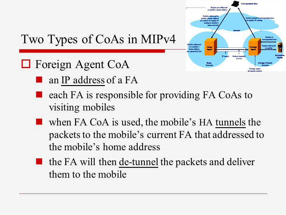 Two Types of CoAs in MIPv4