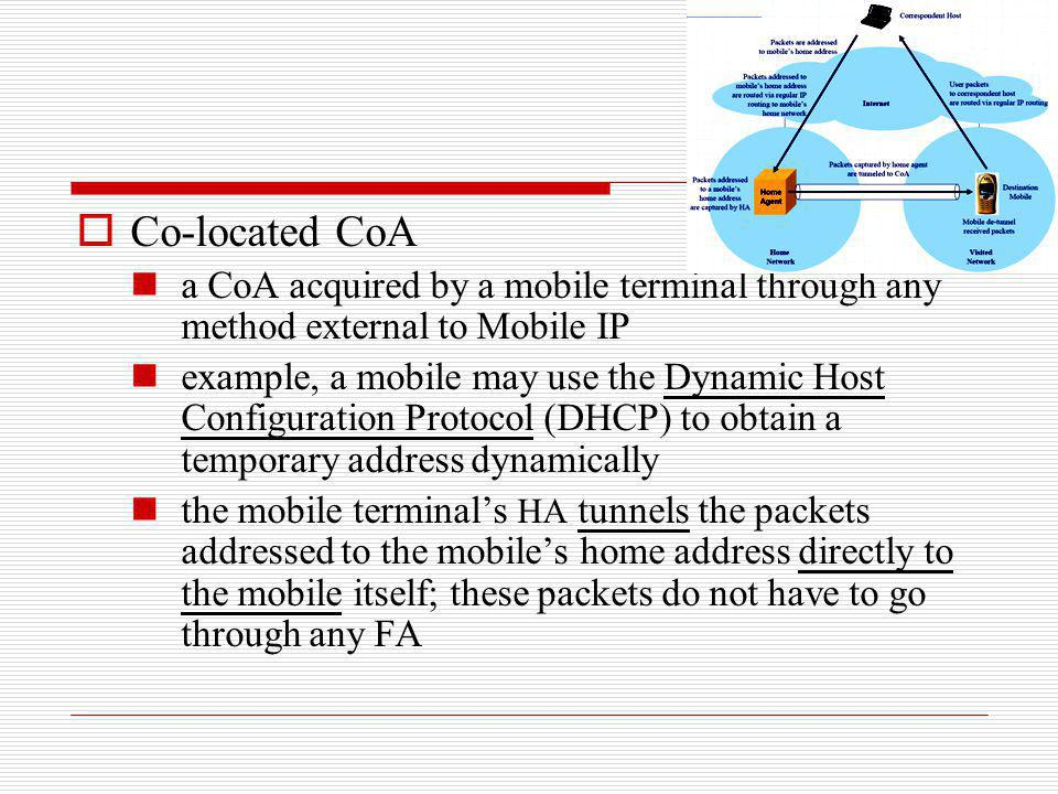 Co-located CoA a CoA acquired by a mobile terminal through any method external to Mobile IP.