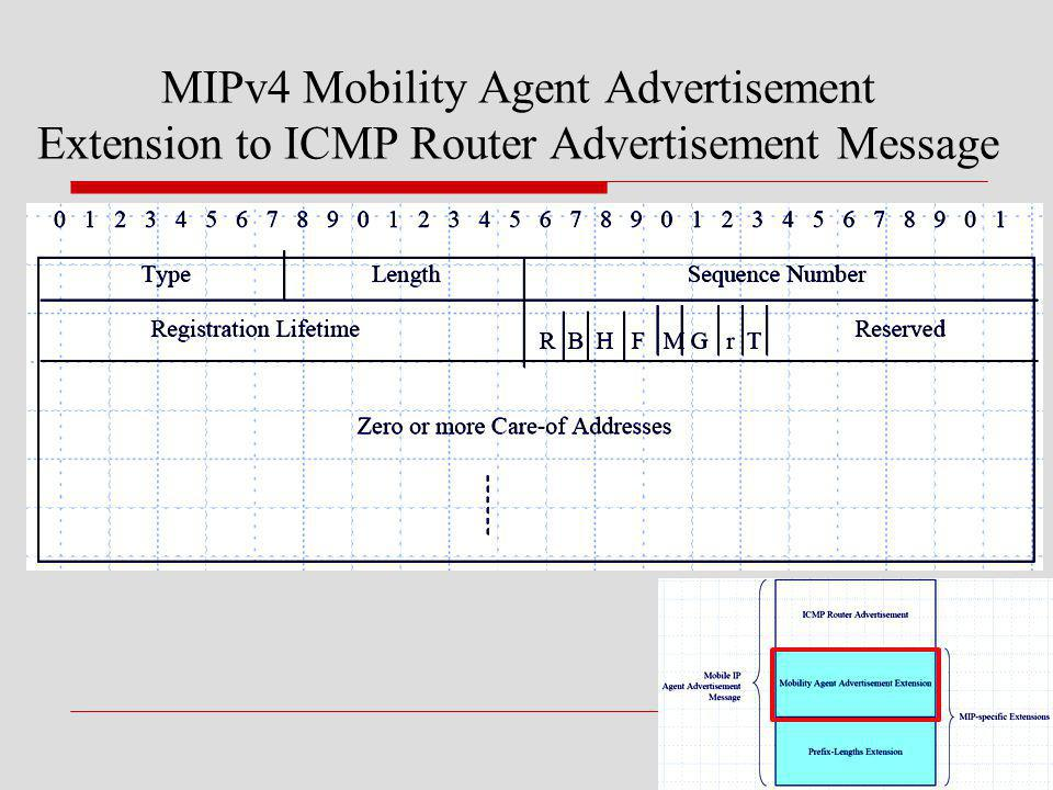 MIPv4 Mobility Agent Advertisement Extension to ICMP Router Advertisement Message