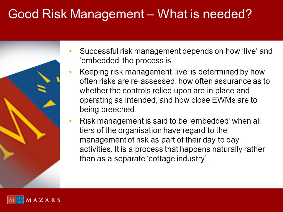 Good Risk Management – What is needed