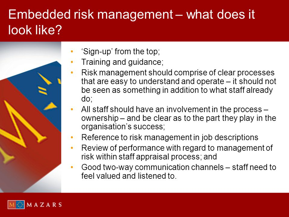 Embedded risk management – what does it look like