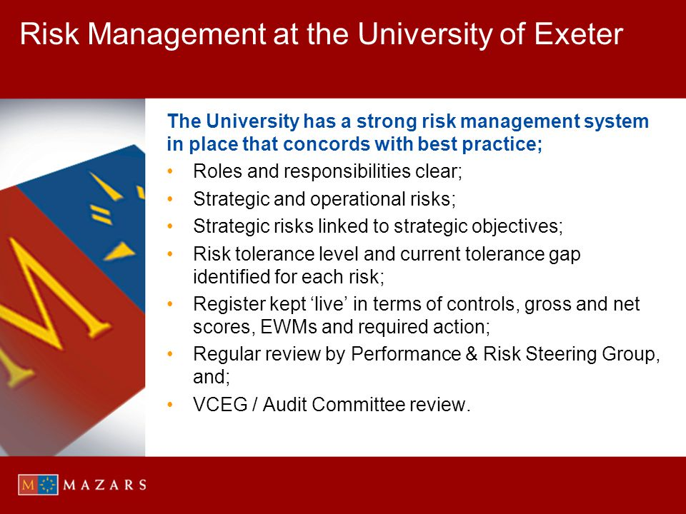 Risk Management at the University of Exeter