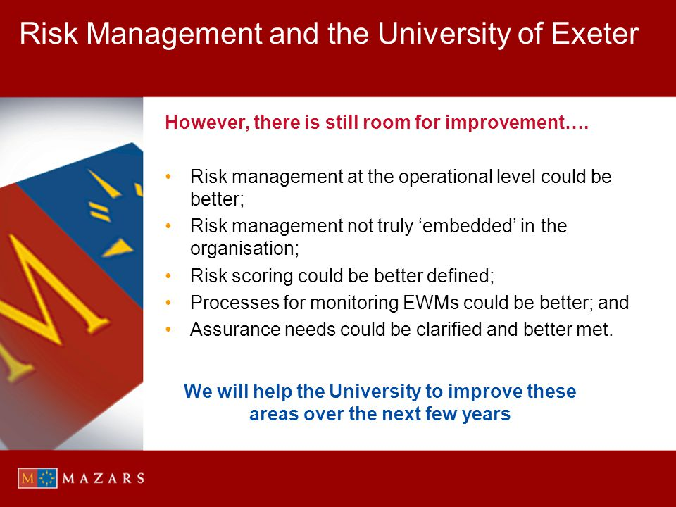 Risk Management and the University of Exeter