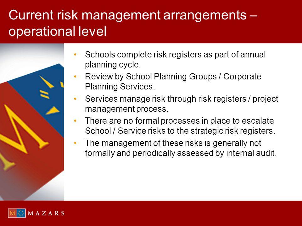 Current risk management arrangements – operational level