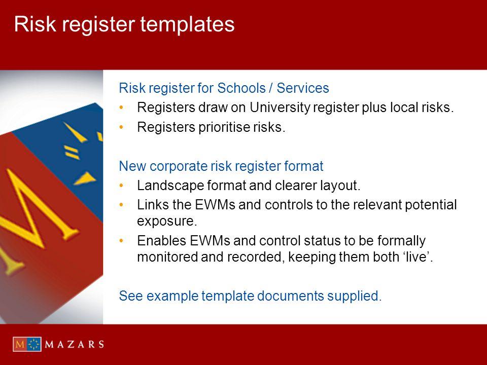 Risk register templates