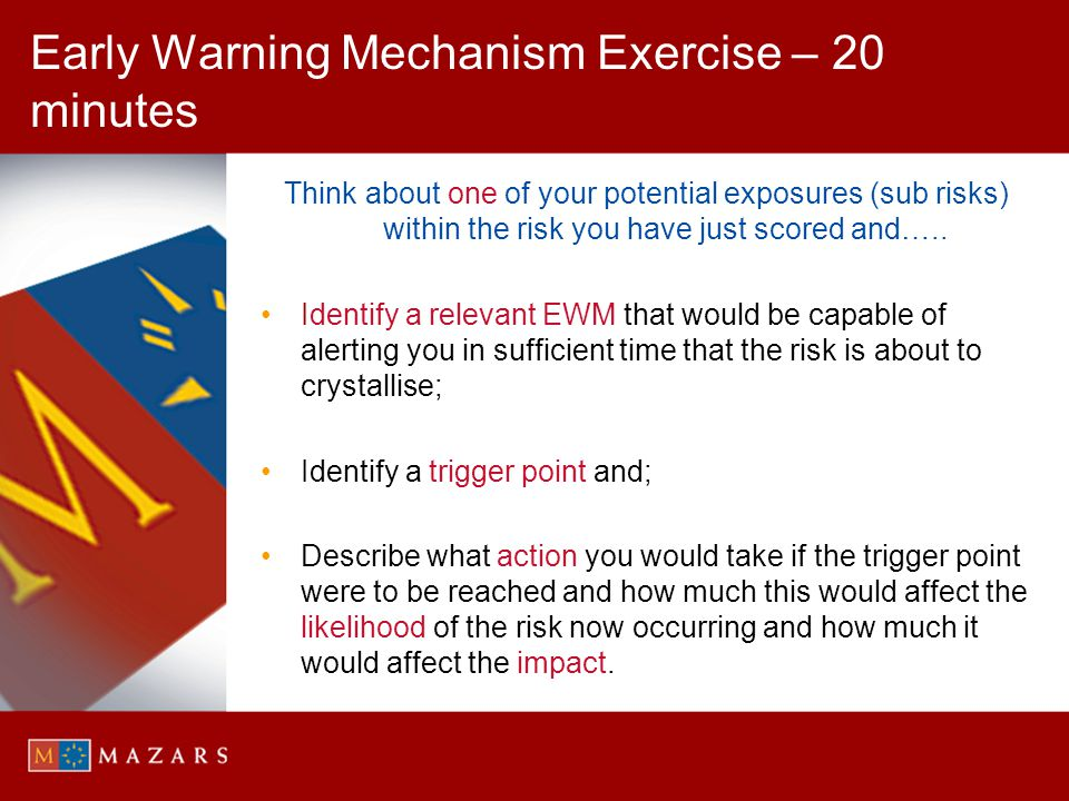 Early Warning Mechanism Exercise – 20 minutes