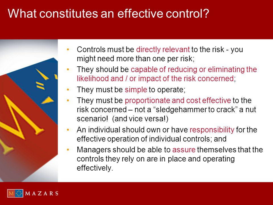 What constitutes an effective control