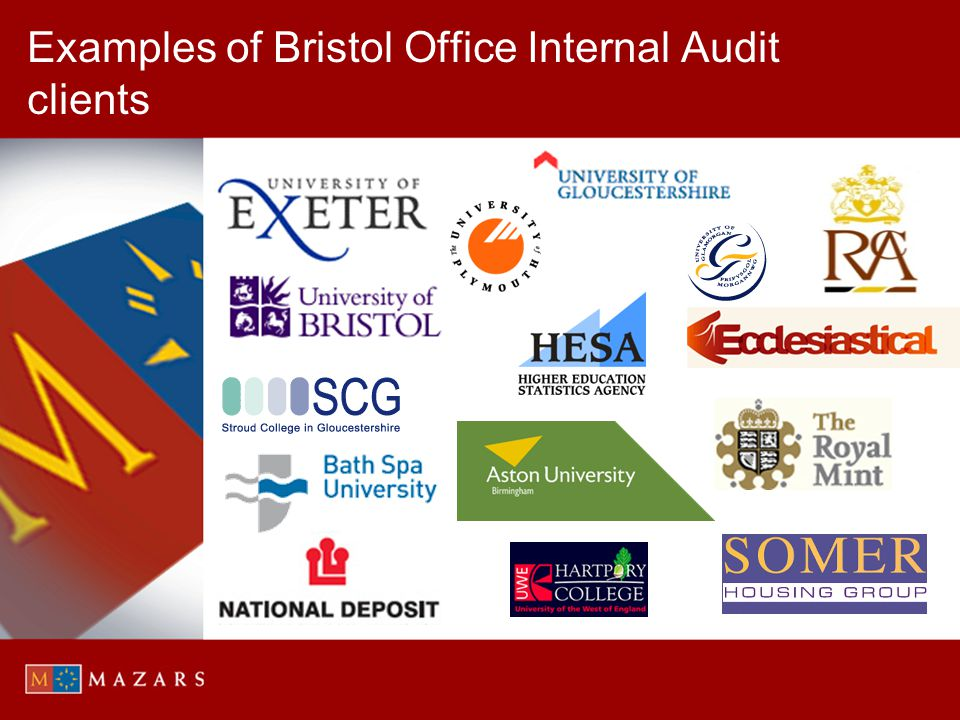 Examples of Bristol Office Internal Audit clients