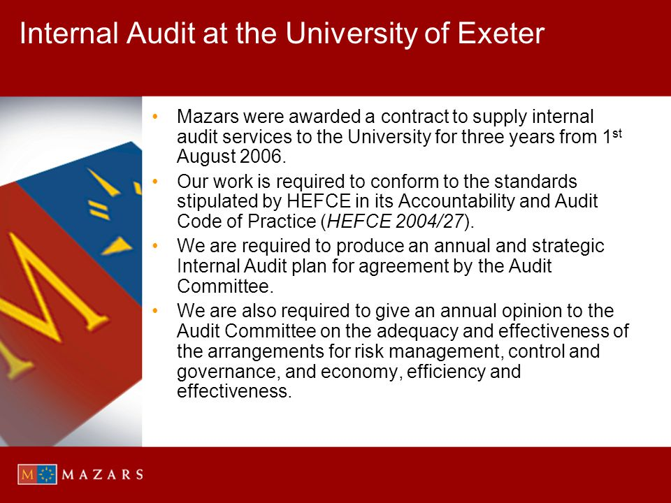 Internal Audit at the University of Exeter