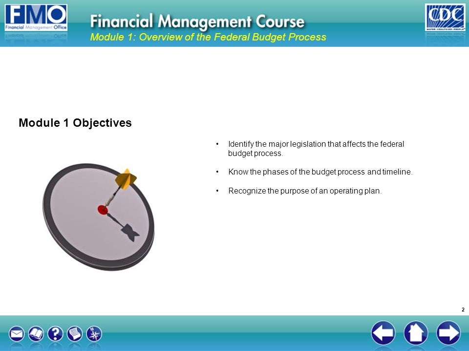 Module 1 Objectives Module 1: Overview of the Federal Budget Process