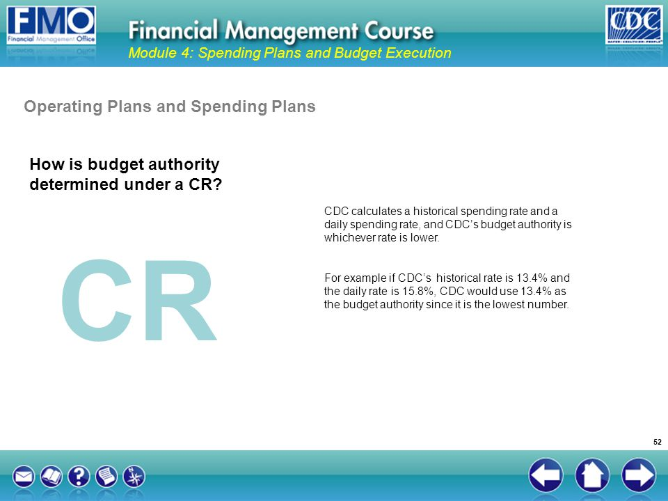 CR Operating Plans and Spending Plans