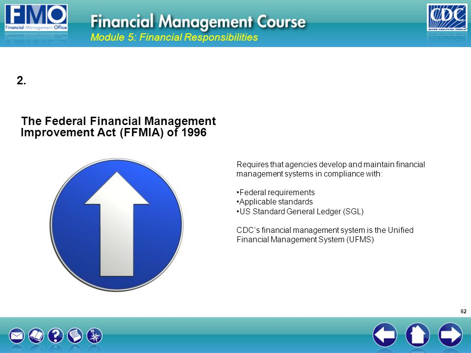 The Federal Financial Management Improvement Act (FFMIA) of 1996