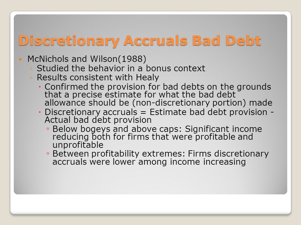 Discretionary Accruals Bad Debt