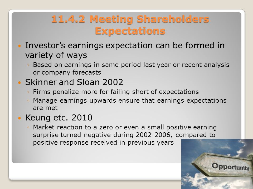 11.4.2 Meeting Shareholders Expectations