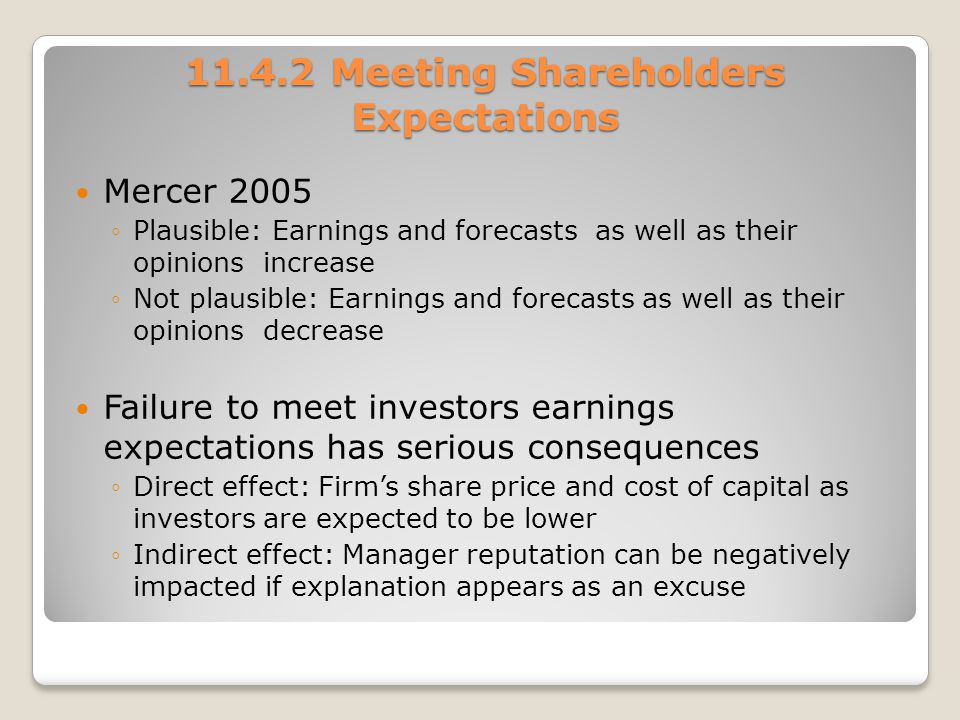 Meeting Shareholders Expectations
