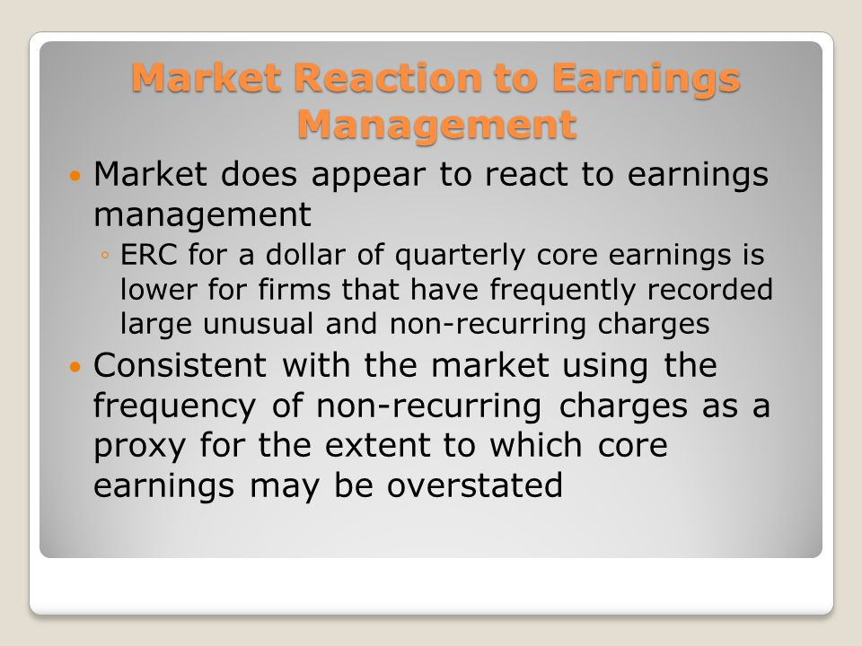 Market Reaction to Earnings Management