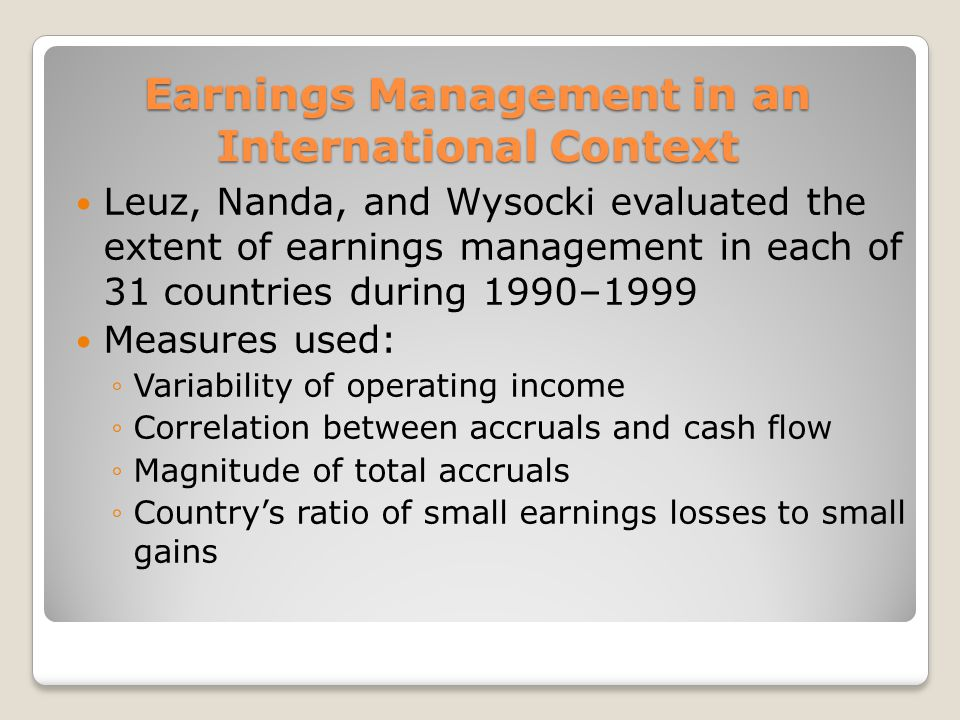 Earnings Management in an International Context