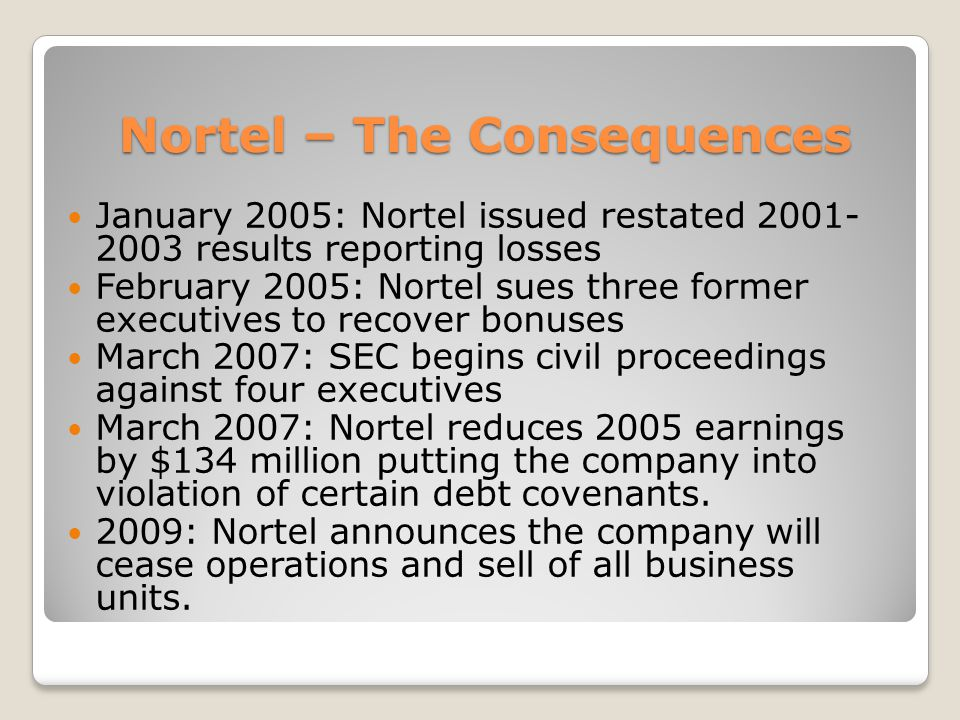 Nortel – The Consequences