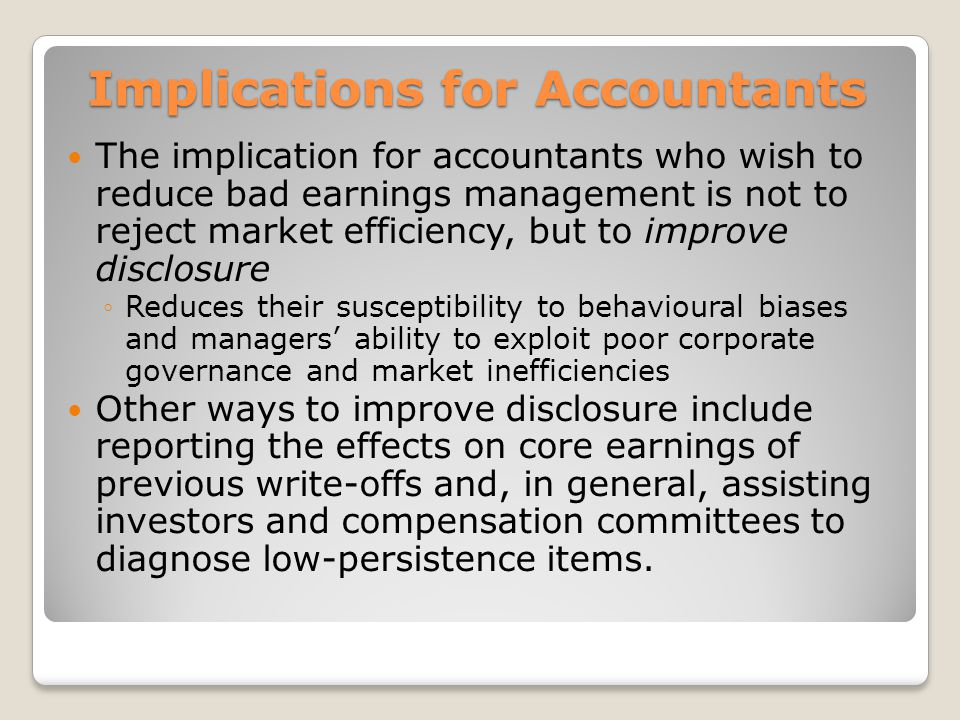 Implications for Accountants
